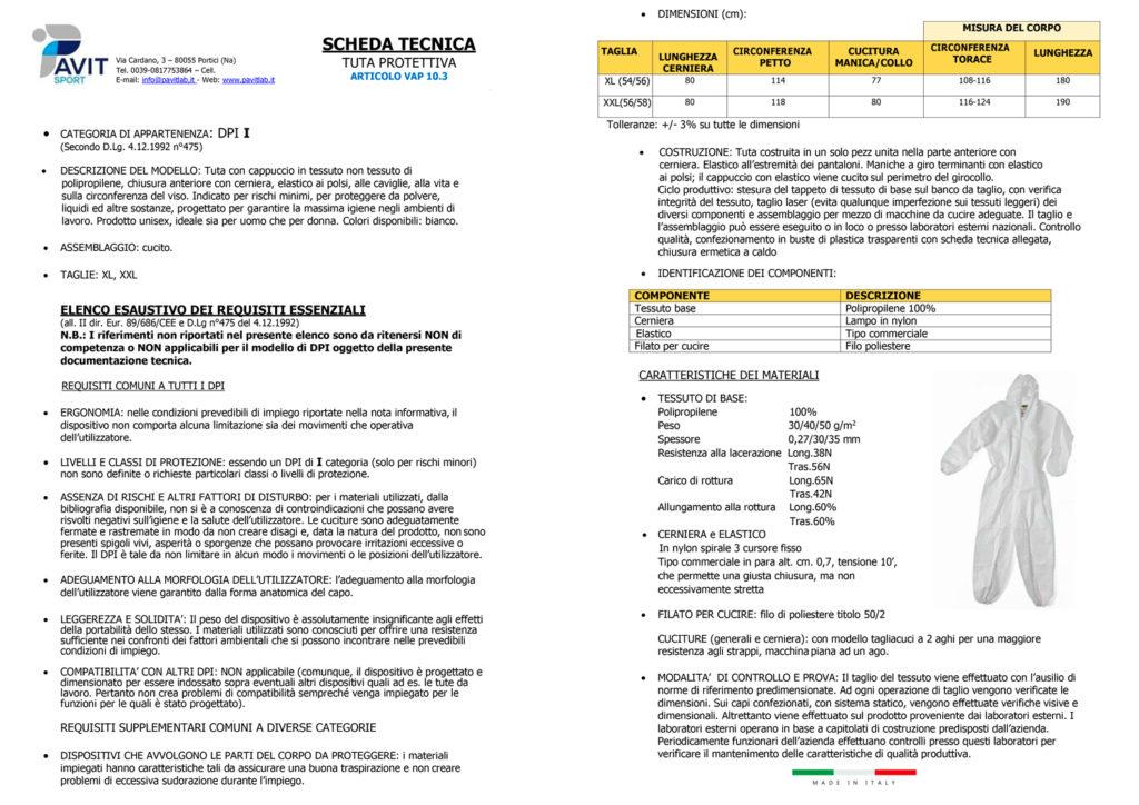 Scheda tecnica TUTA monouso 1024x724 - Abbigliamento da lavoro in TNT, emergenza covid